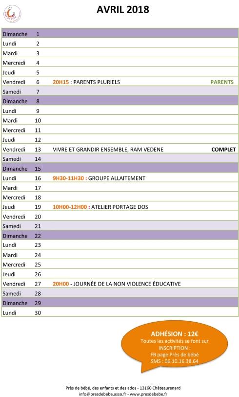 fd26cb91902c Association Près de bébé   le programme d avril   L Espace Enfance ...